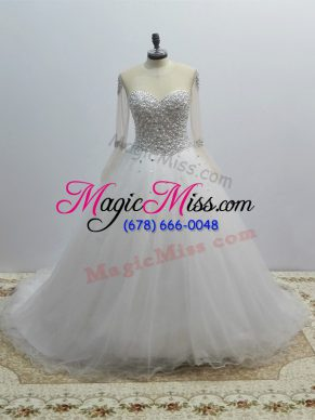 White Tulle Lace Up Wedding Gown Long Sleeves Brush Train Beading
