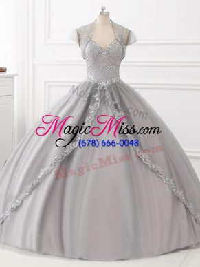 Tulle Sleeveless Floor Length Quinceanera Gown and Beading and Appliques