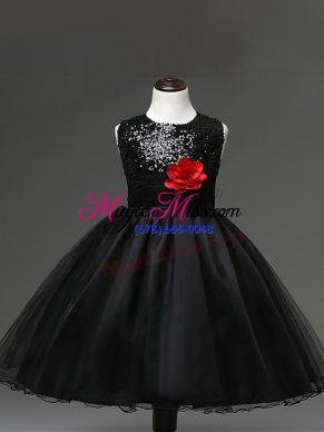 Dazzling Tulle Scoop Sleeveless Zipper Sequins and Hand Made Flower Flower Girl Dress in Black