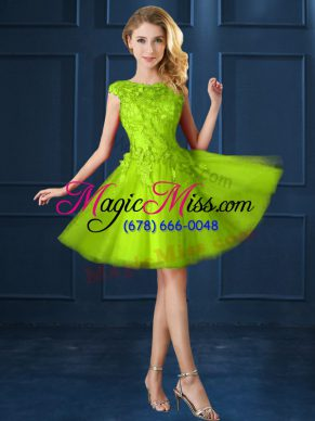 Artistic Cap Sleeves Knee Length Lace and Appliques Lace Up Bridesmaids Dress with Yellow Green