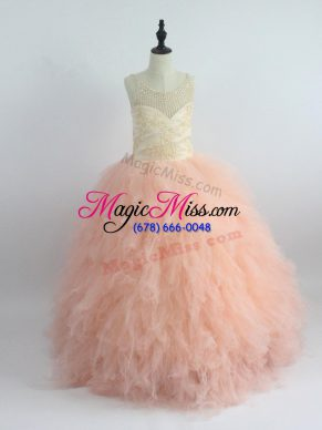 Sleeveless Tulle Floor Length Zipper Kids Pageant Dress in Peach with Appliques and Ruffles