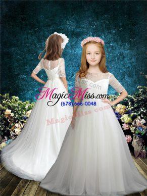 Flower girl dresses 2018 new arrival tulle half sleeves flower girl dress brush train and beading mightylinksfo