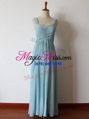 Classical Sleeveless Chiffon Floor Length Zipper Wedding Party Dress in Aqua Blue with Ruching