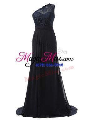 Adorable One Shoulder Sleeveless Brush Train Side Zipper Quinceanera Court of Honor Dress Black Chiffon