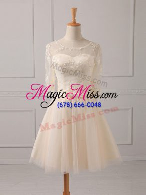 Tulle Scoop Half Sleeves Lace Up Lace and Belt Bridesmaid Gown in Champagne