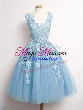 Hot Selling Sleeveless Tulle Knee Length Lace Up Quinceanera Court Dresses in Light Blue with Appliques