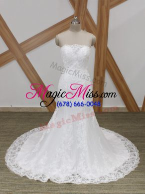 Eye-catching Sleeveless Lace Lace Up Bridal Gown with White Brush Train