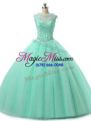 Tulle Scoop Sleeveless Lace Up Beading and Lace Quinceanera Gown in Apple Green