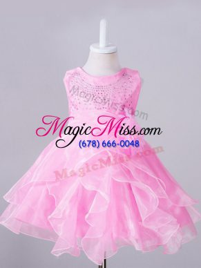 Top Selling Rose Pink Ball Gowns Beading and Hand Made Flower Flower Girl Dress Zipper Organza Sleeveless Knee Length