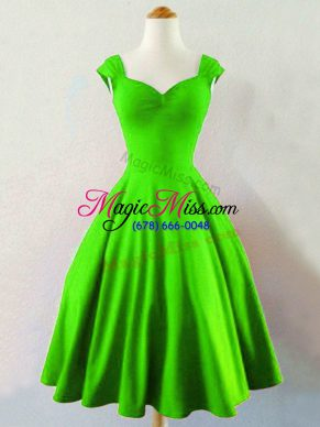 Green Lace Up Straps Ruching Bridesmaid Dresses Taffeta Sleeveless