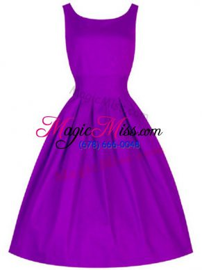 Purple Lace Up Bridesmaid Gown Ruching Sleeveless Knee Length