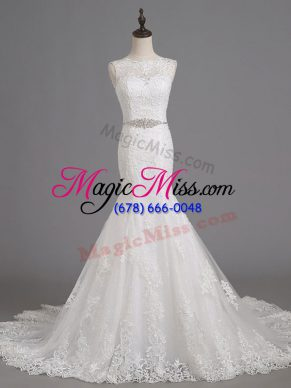 Pretty Sleeveless Brush Train Beading and Lace Lace Up Wedding Gowns