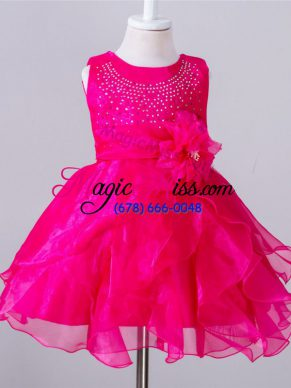 Hot Pink Ball Gowns Scoop Sleeveless Organza Knee Length Zipper Beading and Hand Made Flower Flower Girl Dresses