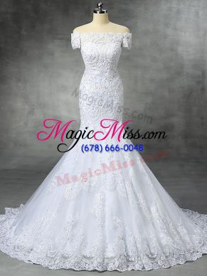 White Mermaid Beading and Lace and Appliques Bridal Gown Zipper Lace Sleeveless
