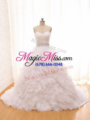 Pretty Sweetheart Sleeveless Tulle Wedding Gowns Beading and Ruffles Brush Train Lace Up