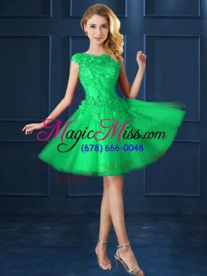 Elegant Green Tulle Lace Up Bateau Cap Sleeves Knee Length Bridesmaids Dress Lace and Appliques
