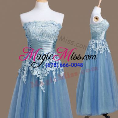 Fancy Blue Sleeveless Appliques Tea Length Bridesmaid Dresses