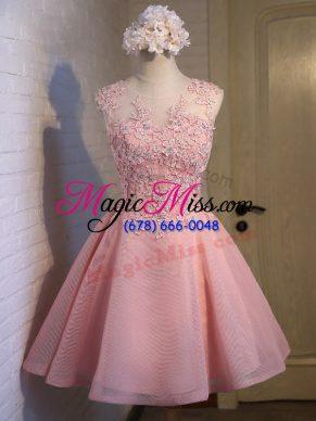 Sumptuous Pink Ball Gowns Lace Vestidos de Damas Lace Up Organza Sleeveless Mini Length