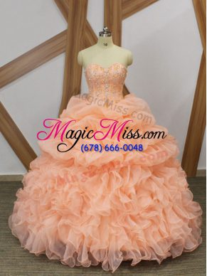Beauteous Sweetheart Sleeveless Sweep Train Lace Up Quinceanera Gowns Peach Organza