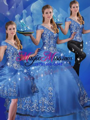 Hot Sale Organza Off The Shoulder Cap Sleeves Lace Up Beading and Embroidery Quince Ball Gowns in Blue