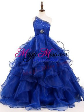 On Sale One Shoulder Sleeveless Organza Little Girls Pageant Dress Wholesale Beading and Ruffles Zipper