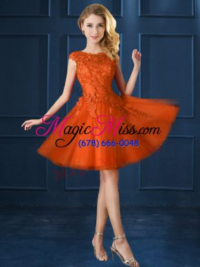 Cap Sleeves Knee Length Lace and Belt Lace Up Wedding Party Dress with Orange Red