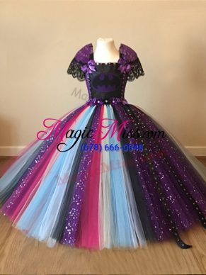 Sequins and Pattern Pageant Gowns For Girls Multi-color Zipper Short Sleeves Floor Length