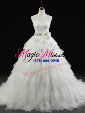 White Ball Gowns Beading and Ruffles and Hand Made Flower Wedding Gown Lace Up Tulle Sleeveless