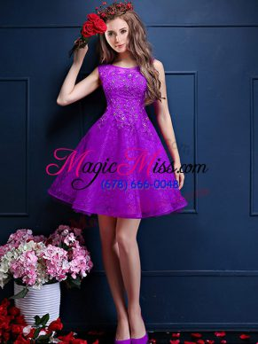Hot Selling Beading and Lace Dama Dress Eggplant Purple Lace Up Sleeveless Knee Length