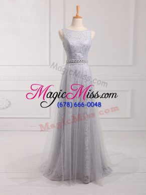 Grey Tulle and Lace Zipper Scoop Sleeveless Wedding Guest Dresses Brush Train Beading and Lace