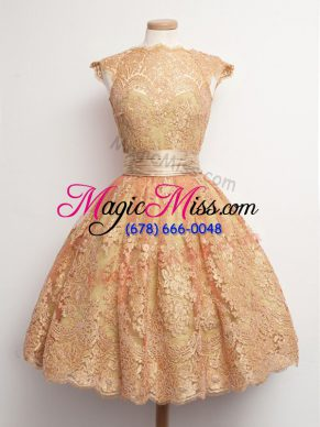 Suitable High-neck Cap Sleeves Dama Dress for Quinceanera Knee Length Belt Gold Lace