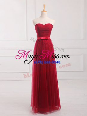 Chic Wine Red Bridesmaid Dress Prom and Party and Wedding Party with Belt Sweetheart Sleeveless Lace Up