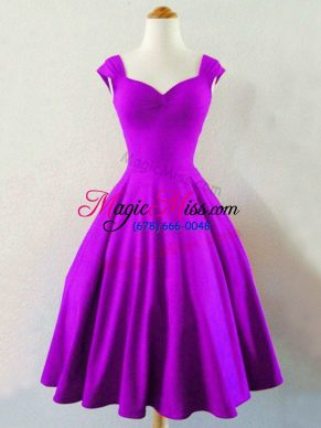 Eggplant Purple Sleeveless Taffeta Lace Up Bridesmaid Gown for Prom and Party and Wedding Party