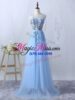 Charming Light Blue Side Zipper Vestidos de Damas Appliques Sleeveless Floor Length