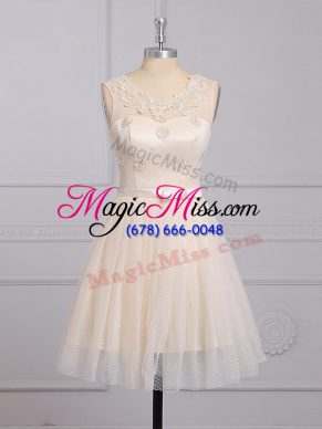 Champagne Bridesmaid Dresses Prom and Party and Wedding Party with Appliques and Belt Scoop Sleeveless Lace Up