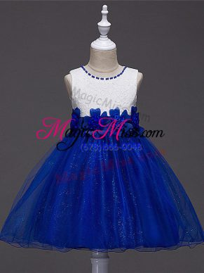 Royal Blue Tulle Zipper Scoop Sleeveless Knee Length Kids Formal Wear Lace and Hand Made Flower