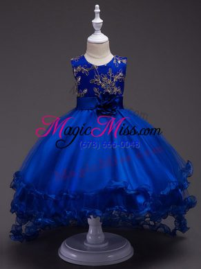 Royal Blue Zipper Pageant Gowns For Girls Appliques and Hand Made Flower Sleeveless High Low