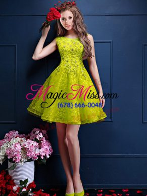 High Class Yellow Green A-line Bateau Sleeveless Tulle Knee Length Lace Up Beading and Lace Bridesmaid Gown