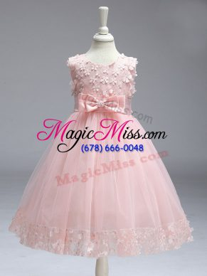 Sleeveless Lace and Bowknot Zipper Flower Girl Dresses for Less