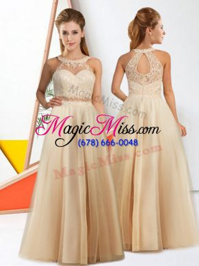 Wonderful Floor Length Champagne Wedding Guest Dresses Halter Top Sleeveless Zipper