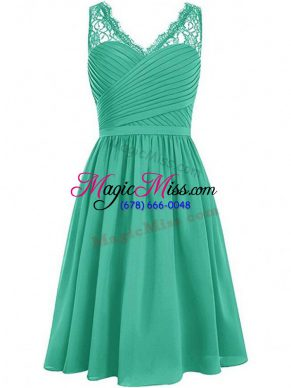 Exceptional V-neck Sleeveless Quinceanera Dama Dress Knee Length Lace and Ruching Green Chiffon