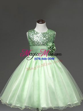 Dazzling Sleeveless Tulle Knee Length Zipper Toddler Flower Girl Dress in Apple Green with Sequins and Hand Made Flower