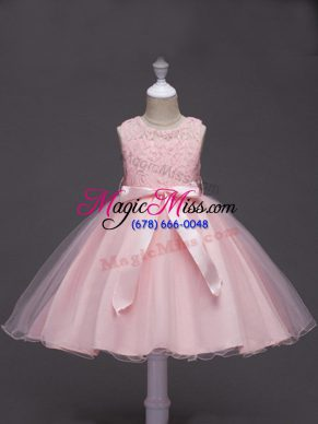 Baby Pink Scoop Zipper Lace and Belt Flower Girl Dresses for Less Sleeveless