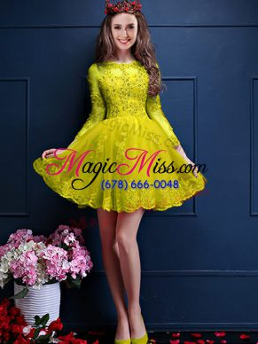Custom Fit A-line Wedding Party Dress Yellow Scalloped Chiffon 3 4 Length Sleeve Mini Length Lace Up