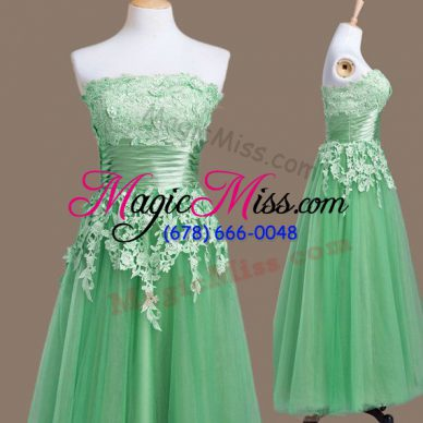 Nice Green Empire Tulle Strapless Sleeveless Appliques Tea Length Lace Up Quinceanera Dama Dress