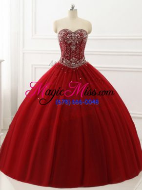 Sleeveless Tulle Floor Length Lace Up 15th Birthday Dress in Wine Red with Beading
