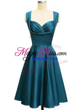 New Arrival Teal Quinceanera Dama Dress Prom and Party and Wedding Party with Ruching Straps Sleeveless Lace Up
