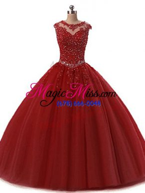 Luxury Floor Length Wine Red 15th Birthday Dress Scoop Sleeveless Lace Up