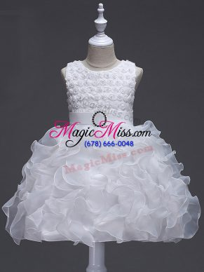 White Organza Lace Up Scoop Sleeveless Knee Length Little Girl Pageant Gowns Ruffles and Belt