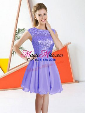 Clearance Lavender Sleeveless Beading and Lace Knee Length Damas Dress